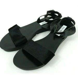 Steve Madden Leather Flat Ankle Strap Sandal Us 9